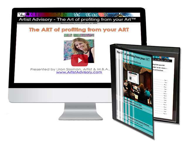 Liron Sissman, Artist and MBA. Founder Artist Advisory. The Art of profiting from your Art workhsop and study materials